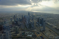 View from Burj Khalifa towards Dubai marina Stock Photos