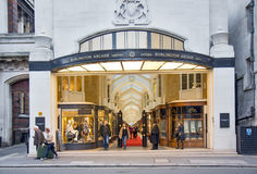 View of Burlington Arcade in London. View of Burlington Arcade, 19th century European shopping gallery, behind Bond Street, opened in 1819 for sale of jewellery Royalty Free Stock Images