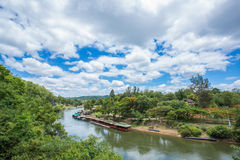View of Burma railway (Death railway) and river Khwae (Kwai). Royalty Free Stock Image