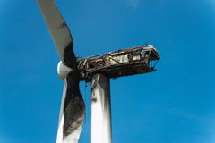 View of Burned wind turbine. Royalty Free Stock Photo