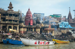 View of Burning Ghats on riverbank of Ganges in Varanasi, India. Varanasi also known as Benares, Banaras or Kashi is a city on the banks of the Ganges in Uttar Royalty Free Stock Photography