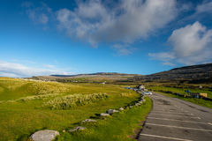 View of the Burren from the car park at Fanore beach, Co. Clare. Royalty Free Stock Photos