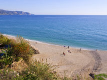 Beach from the clifftop in Nerja Spain Royalty Free Stock Photography