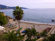 Beach from the clifftop in Nerja Spain Stock Photography
