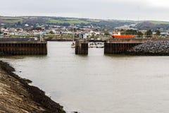 Burry Port Harbour. View of Burry Port Harbour, Llanelli, Carmarthenshire, Wales Stock Images
