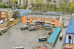 View of the bus station with a bird's-eye view Stock Photos