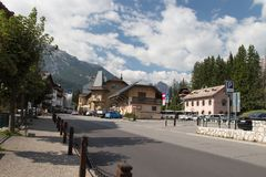 Bus station of Cortina d`Ampezzo. Dolomites, Italy. Royalty Free Stock Photography