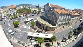 View of the bus station and the old port of Cannes stock video