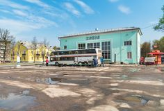 View of Bus Station in Pskov, Russian Federation. Pskov, Russian Federation - May 4, 2018: View of Bus Station in Pskov Royalty Free Stock Image