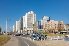 View in a business architecture on a promenade in Tel Aviv, Isra Stock Image