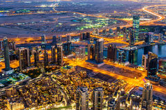 View of Business Bay district from Burj Khalifa Royalty Free Stock Photography