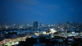 View of Business Building Bangkok city area traffic location at night life, high angle shot in HD, Din Daeng District BANGKOK, Tha stock video