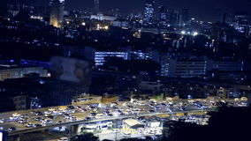 View of Business Building Bangkok city area traffic location at night life, high angle shot in HD, Din Daeng District BANGKOK, Tha stock video footage