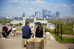 View on business district Canary Wharf from old English park, south of London Royalty Free Stock Images