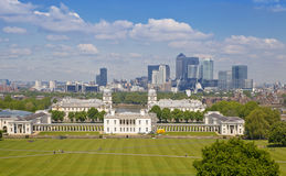 View on business district Canary Wharf from old English park, south of London Stock Photography