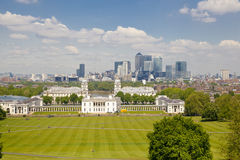 View on business district Canary Wharf from old English park, south of London Stock Images