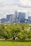 View on business district Canary Wharf from old English park, south of London Stock Photo