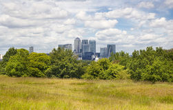 View on business district Canary Wharf from old English park, south of London Royalty Free Stock Photography