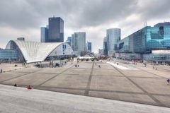View on business district La Defense, Paris. PARIS - APRIL 6:  Business district La Defense is situated at the end of Historical Axis, which starts at the Louvre Stock Images