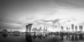 Business district and Marina bay in Singapore Stock Photos