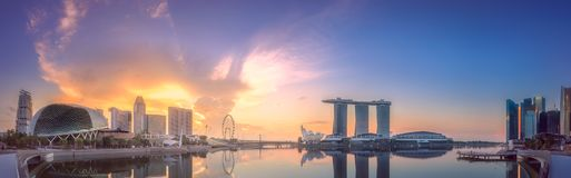 Business district and Marina bay in Singapore Stock Photo