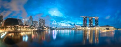 Business district and Marina bay in Singapore. View of business district and Marina bay skyline at sunrise in Singapore royalty free stock photography