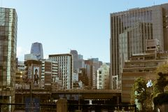View of business and shopping district in Tokyo, Japan. Taken near the famous shopping and business district Ginza in Tokyo, Japan Royalty Free Stock Photos