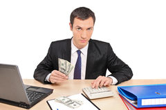 A view of a businessman counting money Royalty Free Stock Images