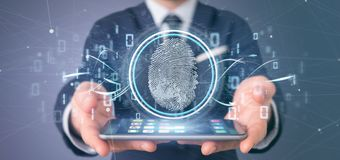 Businessman holding a Digital fingerprint identification and binary code 3d rendering. View of a Businessman holding a Digital fingerprint identification and royalty free stock photos