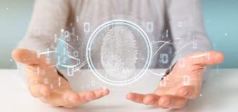 Businessman holding a Digital fingerprint identification and bin. View of a Businessman holding a Digital fingerprint identification and binary code 3d rendering stock image