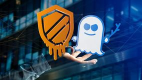 Businessman holding a Meltdown and Spectre processor attack with. View of a Businessman holding a Meltdown and Spectre processor attack with network connection Stock Image