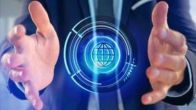 Businessman holding a Shinny technologic globe button - 3d rende. View of a Businessman holding a Shinny technologic globe button - 3d render Stock Images
