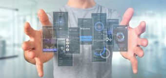 Businessman holding User interface screens with icon, stats and data 3d rendering. View of Businessman holding User interface screens with icon, stats and data stock photo