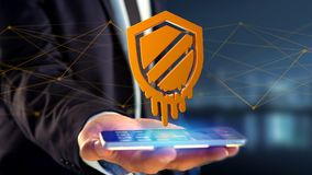Businessman using a smartphone with a Meltdown processor attack. View of a Businessman using a smartphone with a Meltdown processor attack with network Royalty Free Stock Photo