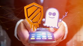 Businessman using a smartphone with a Meltdown and Spectre proce. View of a Businessman using a smartphone with a Meltdown and Spectre processor attack with Royalty Free Stock Photos