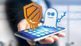Businessman using a smartphone with a Meltdown and Spectre proce. View of a Businessman using a smartphone with a Meltdown and Spectre processor attack with Stock Photos