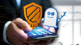 Businessman using a smartphone with a Meltdown and Spectre proce. View of a Businessman using a smartphone with a Meltdown and Spectre processor attack with Royalty Free Stock Photo