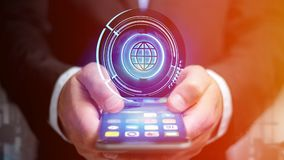 Businessman using a smartphone with a Shinny technologic globe b. View of a Businessman using a smartphone with a Shinny technologic globe button - 3d render Stock Photo
