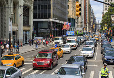 View of busy and crowded street in New York, USA Stock Images