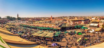View of the busy Jamaa el Fna market square in Marrakesh, Morocco royalty free stock photos