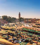 View of the busy Jamaa el Fna market square in Marrakesh, Morocco stock images
