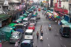 View of a busy street in Chinatown Royalty Free Stock Photo
