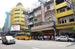 View of a busy street in Chinatown in Bangkok Royalty Free Stock Photos