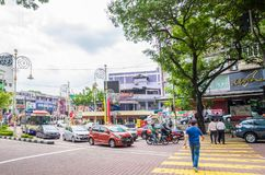 View of busy traffic in Brickfields Little India in Kuala Lumpur Stock Photos