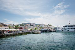 View of Buyukada (big island) from sea ferry,Istanbul,Turkey royalty free stock photos
