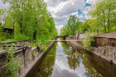 View of the Bypass channel from the Penkovy Bridge, Kronstadt, Russia Royalty Free Stock Images
