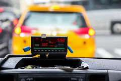 View from cab with meter display in New York Royalty Free Stock Image