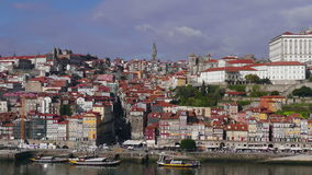 View from Cabin Cableway of Historical Centre Porto stock video