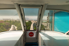 View from cabin of monorail train Stock Photo