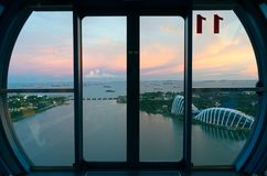 View from a cabin of Singapore Flyer stock photos